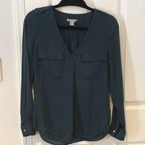 Teal H & M pocket blouse